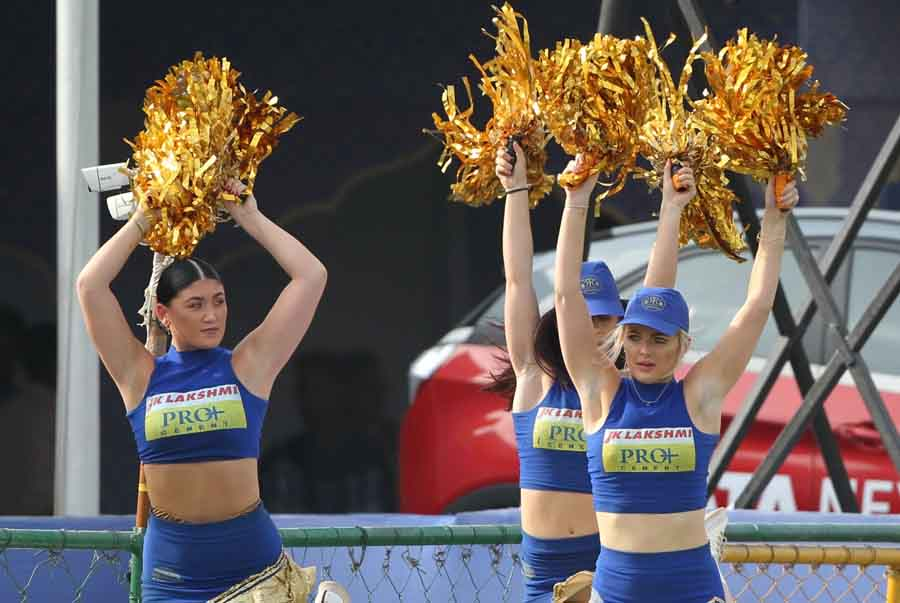 Cheer Leaders Perform During An IPL 2018 Match Between Rajasthan Royals And Royal Challengers Bangal