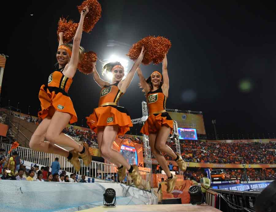 Cheer Leaders Perform During An IPL 2018 Match Between Sunrisers Hyderabad And Kolkata Knight Riders
