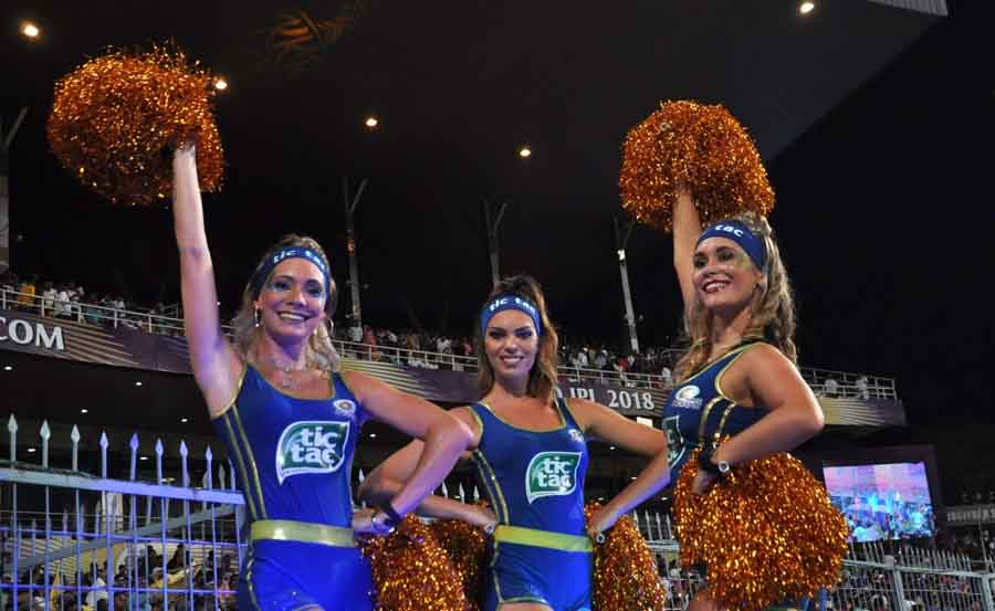 Cheerleaders During An IPL 2018 Match Between Mumbai Indians And Kolkata Knight Riders At Eden Garde