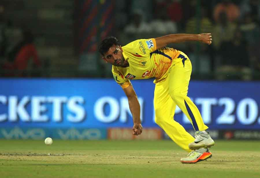 Chennai Super Kings Deepak Chahar In Action During An IPL 2018 Match Between Chennai Super Kings And in Hindi
