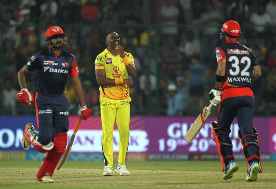 Chennai Super Kings Dwayne Bravo During An IPL 2018 Match Images in Hindi