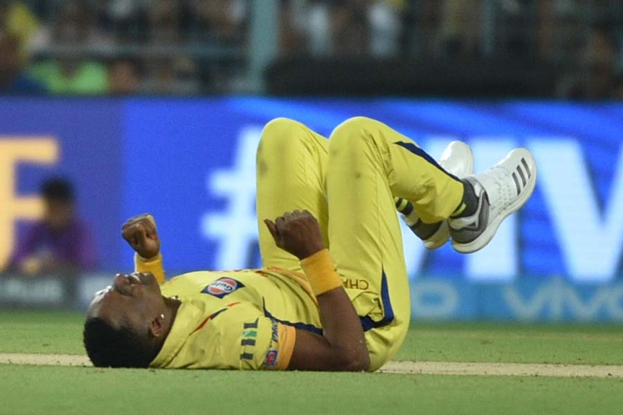 Chennai Super Kings Dwayne Bravo During An IPL 2018 Images in Hindi