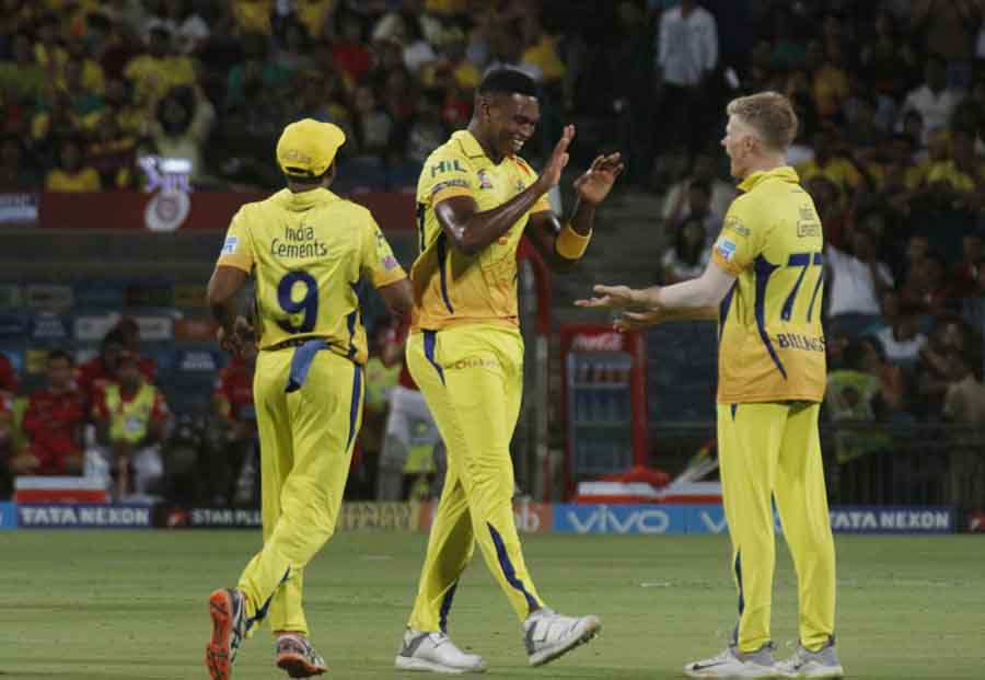 Chennai Super Kings Lungi Ngidi Celebrates Fall Of Lokesh Rahuls Wicket During An IPL 2018 Images in Hindi