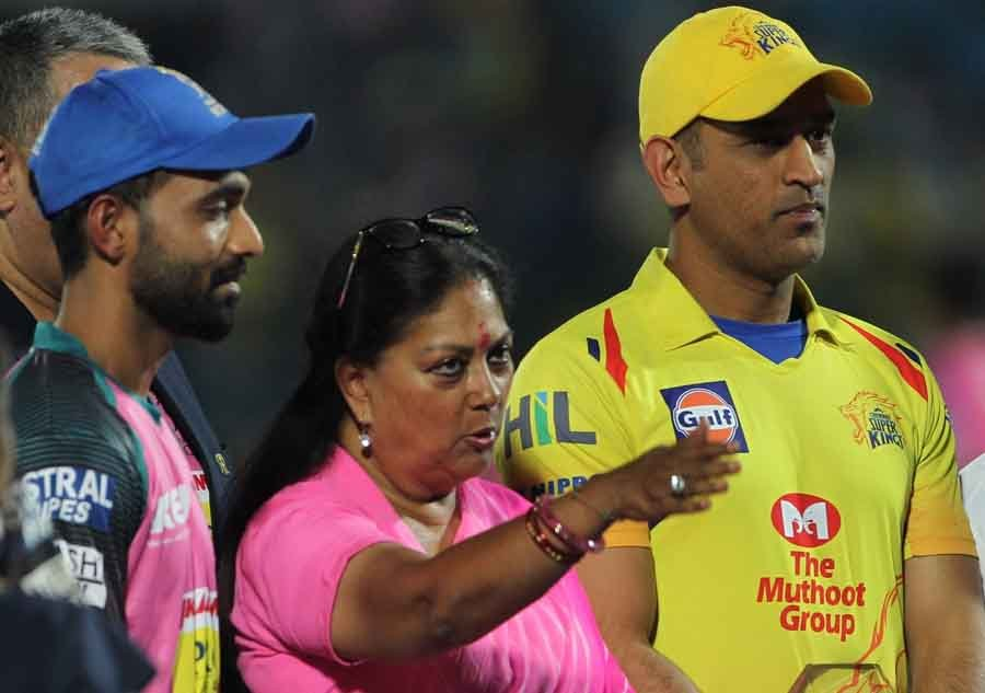 Chennai Super Kings MS Dhoni And Rajasthan Royals Ajinkya Rahane With Rajasthan Chief Minister Vasun