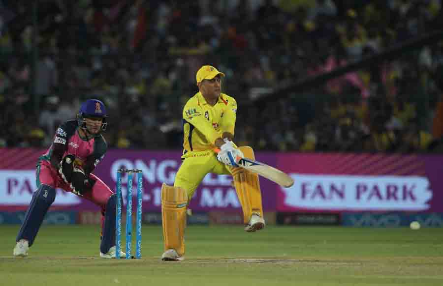 Chennai Super Kings MS Dhoni In Action During An IPLMatch  2018 Images in Hindi