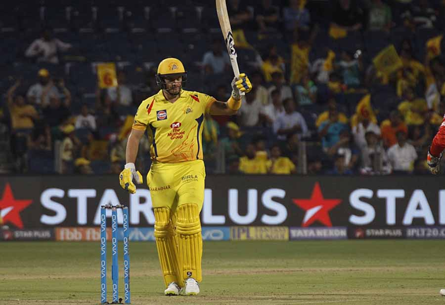 Chennai Super Kings Shane Watson Celebrates His Half Century During An IPL 2018 Images in Hindi