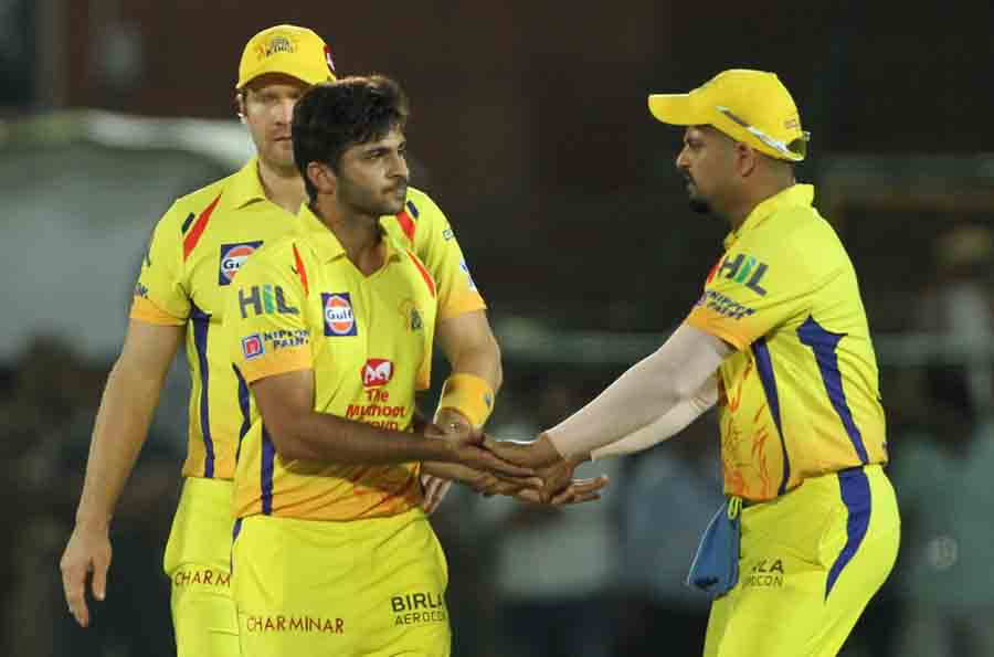Chennai Super Kings Celebrate Fall Of Prashant Chopras Wicket During An IPL 2018 Images in Hindi