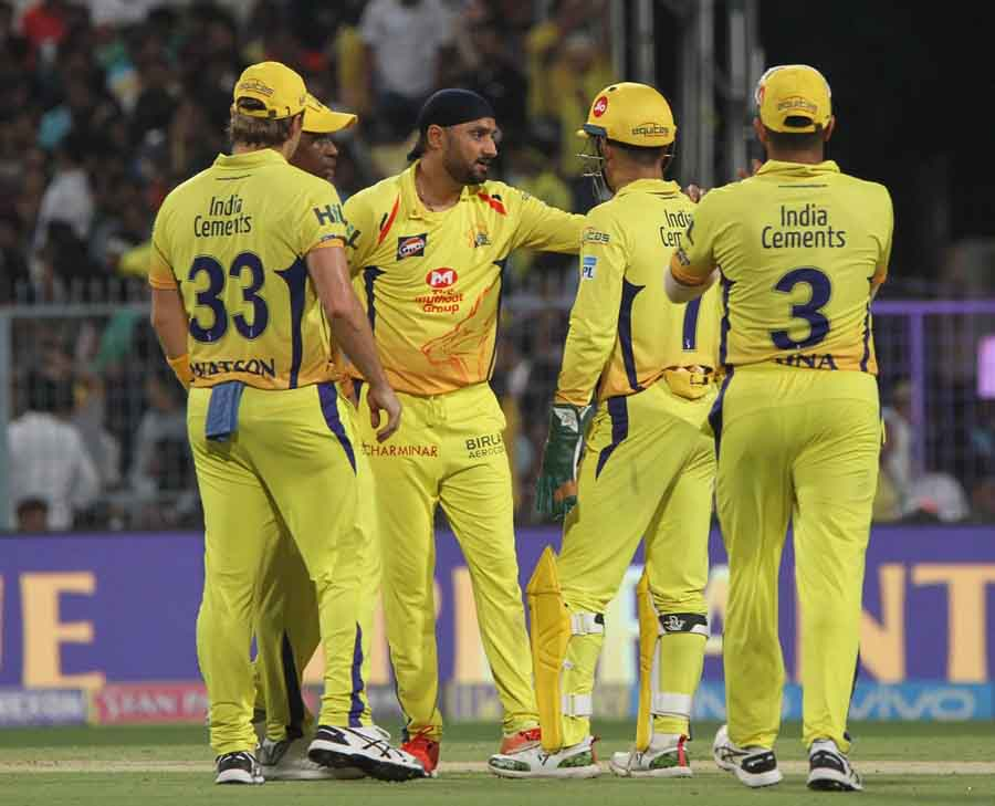 Chennai Super Kings Celebrate Fall Of A Wicket During An IPL 2018 Images