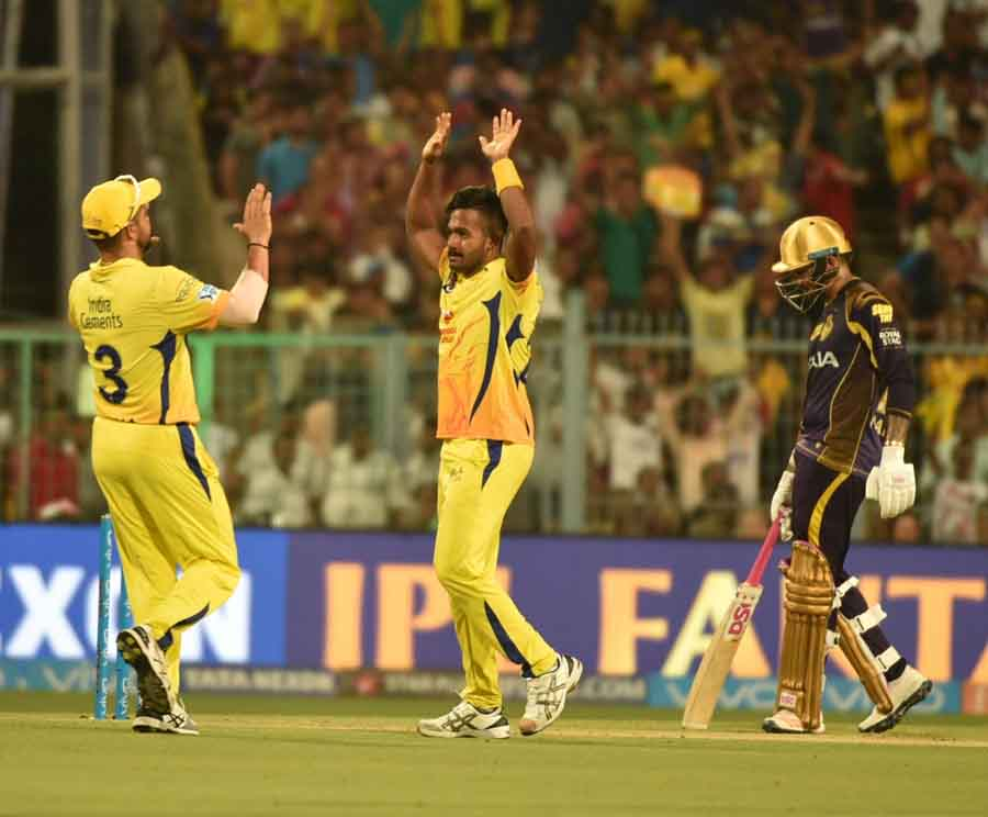 Chennai Super Kings Celebrate Fall Of A Wicket During An IPL 20181 Images