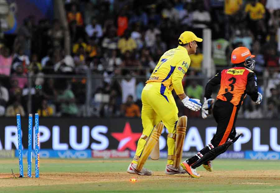 Chennai Super Kings Skipper MS Dhoni Bowled By Rashid Khan Of Sunrisers Hyderabad During The First Q