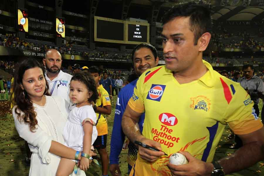 Chennai Super Kings Skipper MS Dhoni With His Wife Sakshi And Their Daughter Ziva After Winning IPL