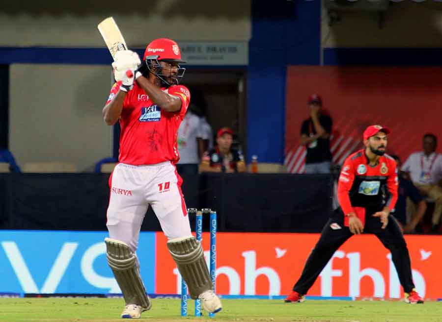 Chris Gayle Of Kings XI Punjab In Action During An IPL 2018 Match Images