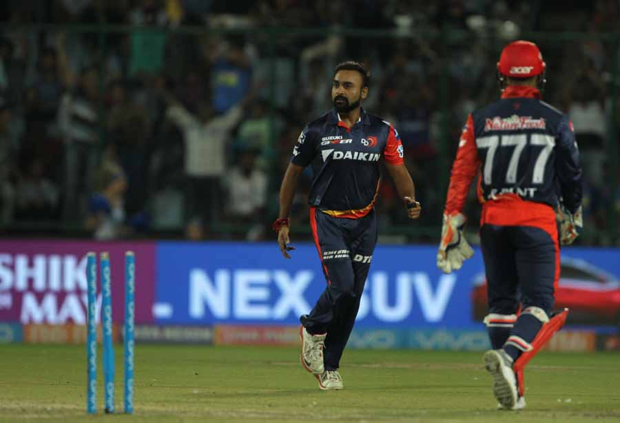 Delhi Daredevils Amit Mishra Celebrates Fall Of Jos Buttlers Wicket During An IPL 2018 Images