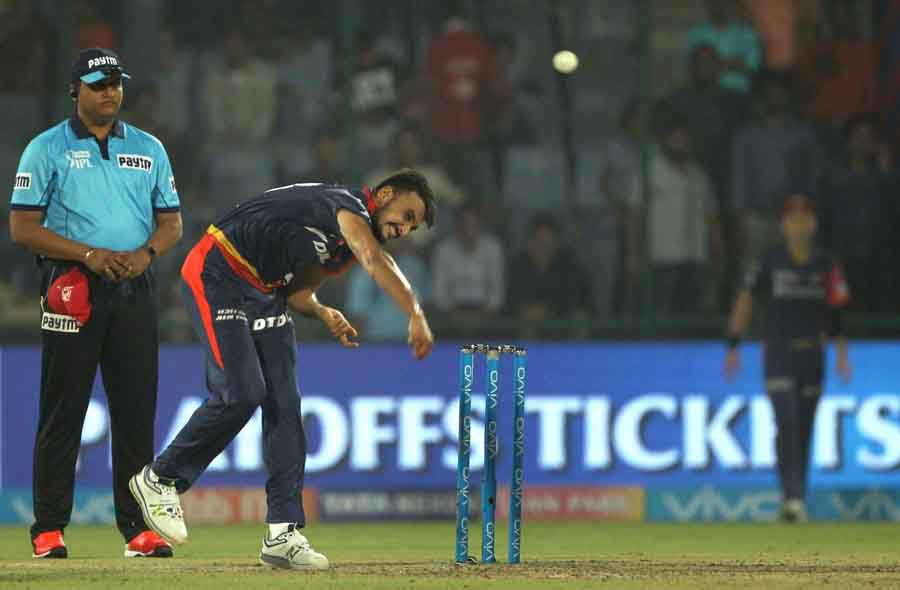 Delhi Daredevils Harshal Patel In Action During An IPL 2018 Match Between Chennai Super Kings And De