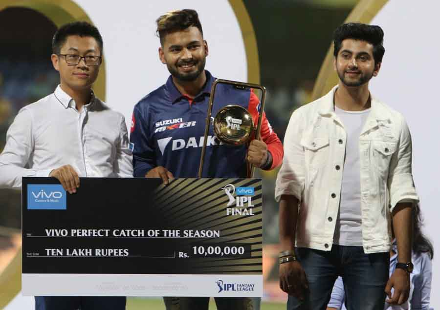 Delhi Daredevils Rishabh Pant Receives The Perfect Catch Of The Season Award During The IPL 2018 Ima