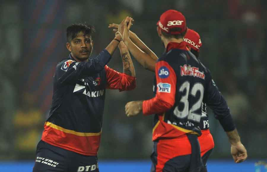 Delhi Daredevils Sandeep Lamichhane Celebrates Fall Of Suresh Rainas Wicket During An IPL 2018 Match