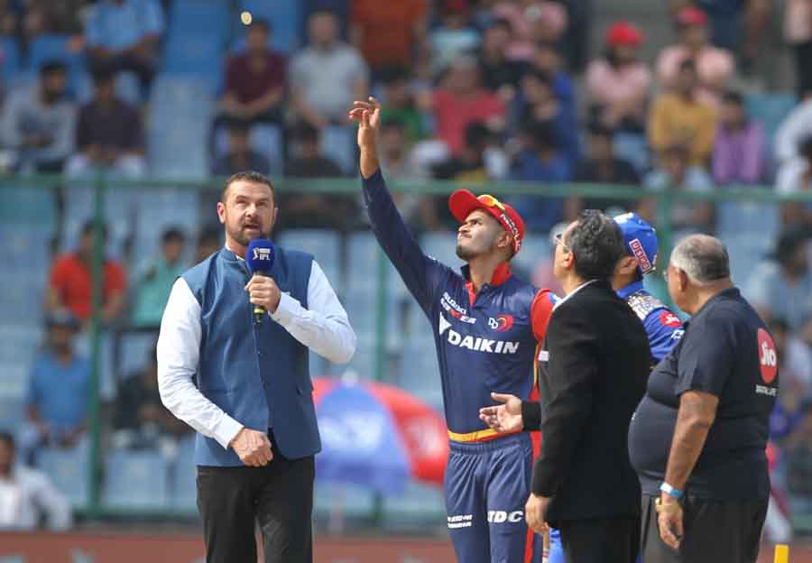 Delhi Daredevils Captain Shreyas Iyer During The Toss Ahead Of An IPL Match 2018 Images