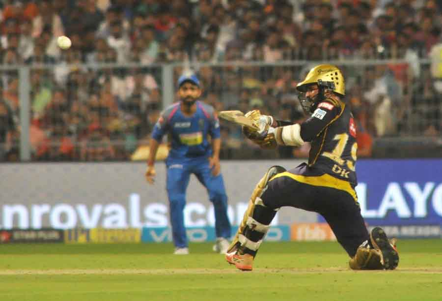 Dinesh Karthik Of Kolkata Knight Riders In Action During The Eliminator Match Of IPL 2018 Match Imag