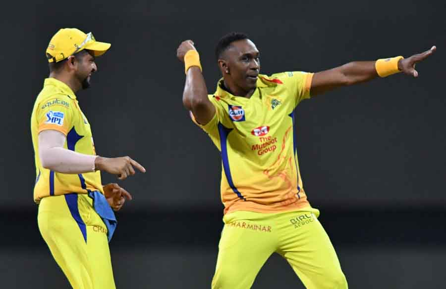 Dwayne Bravo Of Chennai Super Kings Celebrates Fall Of Yusuf Pathans Wicket During The First Qualifi