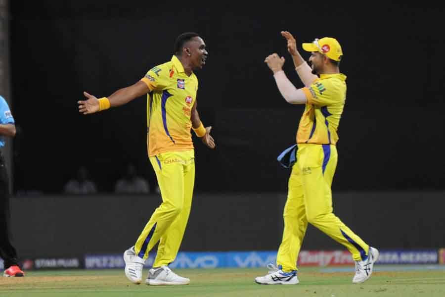 Dwayne Bravo Of Chennai Super Kings Celebrates Fall Of A Wicket During The First Qualifier Match Of  in Hindi