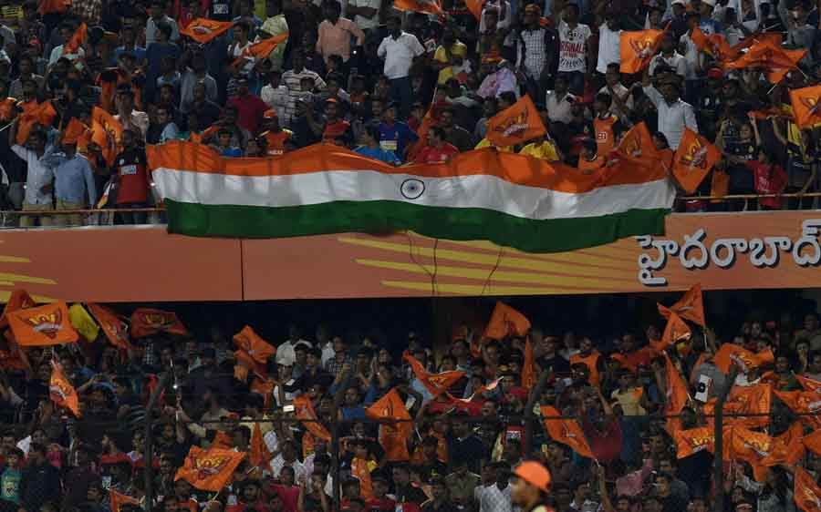 Fans During An IPL 2018 Match Between Sunrisers Hyderabad And Royal Challengers Bangalore At Rajiv G in Hindi