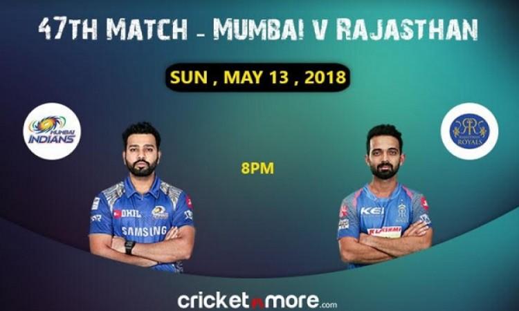 राजस्थान रॉयल्स और मुंबई इंडियंस की टीम के बीच होगी कांटे की टक्कर, जानिए प्लेइंग इलेवन Images