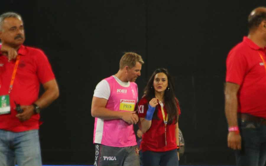 Kings XI Punjab Co Owner Preity Zinta Interacts With During An IPL Match 2018 Images