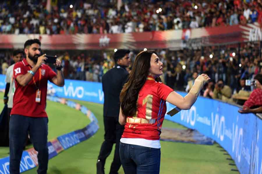 Kings XI Punjab Co Owner Preity Zinta Interacts With Spectators During An IPL 2018 Images