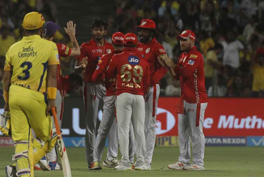 Kings XI Punjab Players Celebrate Fall Of A Wicket During An IPL 2018 Match Images
