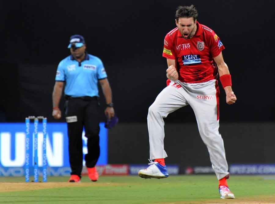 Kings XI Punjabs Andrew Tye Celebrates Fall Of Suryakumar Yadavs Wicket During An IPL 2018 Match Ima