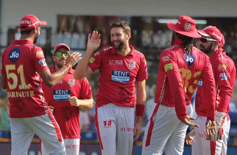 Kings XI Punjabs Andrew Tye Celebrates Fall Of A Wicket During An IPL 2018 Images