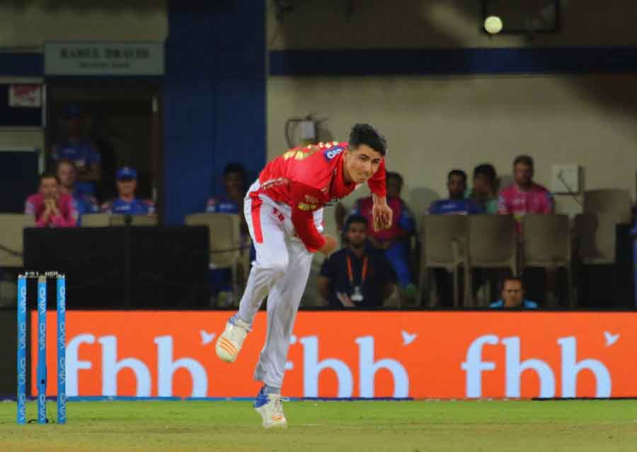 Kings XI Punjabs Mujeeb Ur Rahman In Action During An IPL 2018 Images
