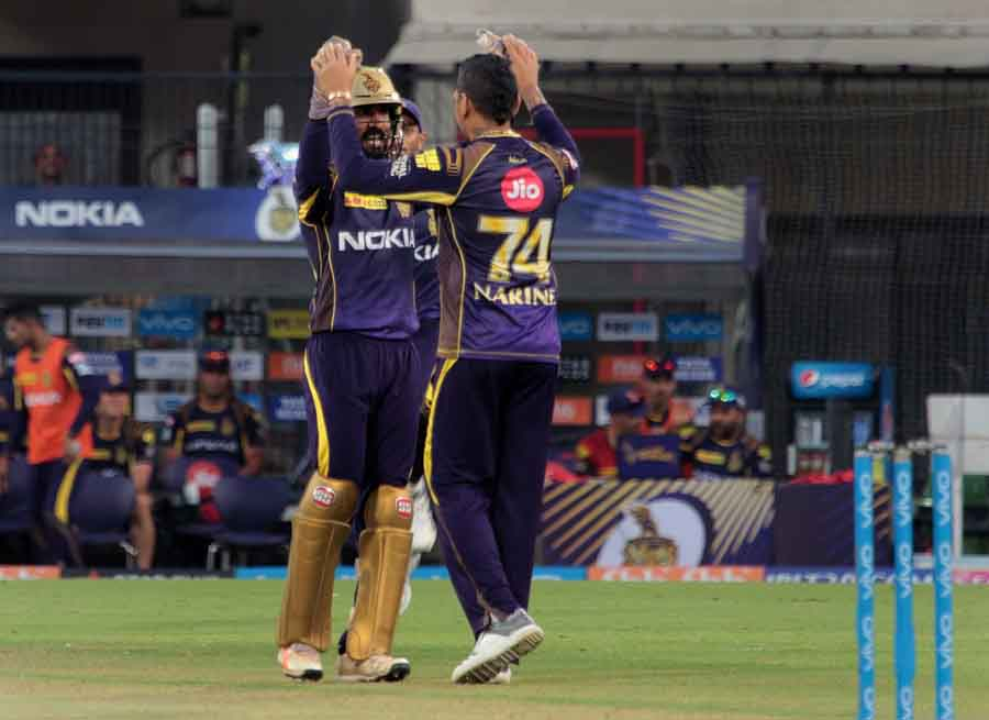 Kolkata Knight Riders ​celebrate Fall Of Lokesh Rahuls Wicket During An IPL 2018 Images
