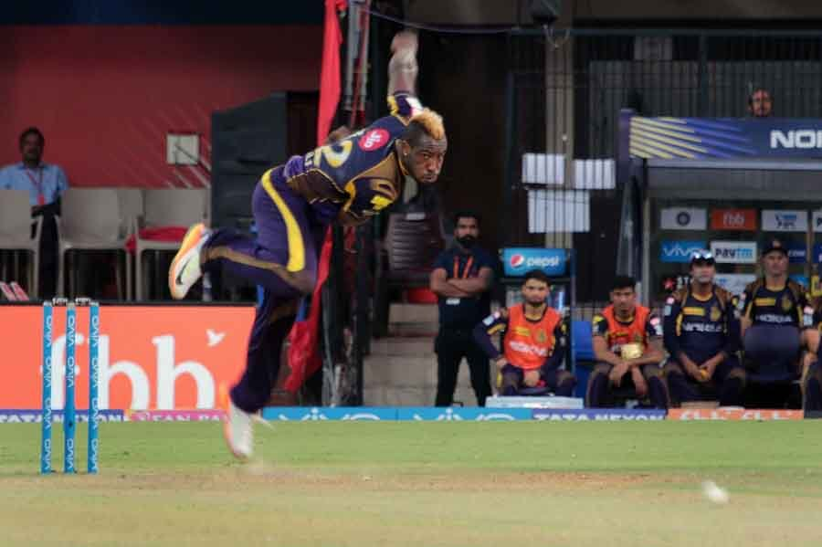 Kolkata Knight Riders Andre Russell In Action During An IPL 2018 Images in Hindi