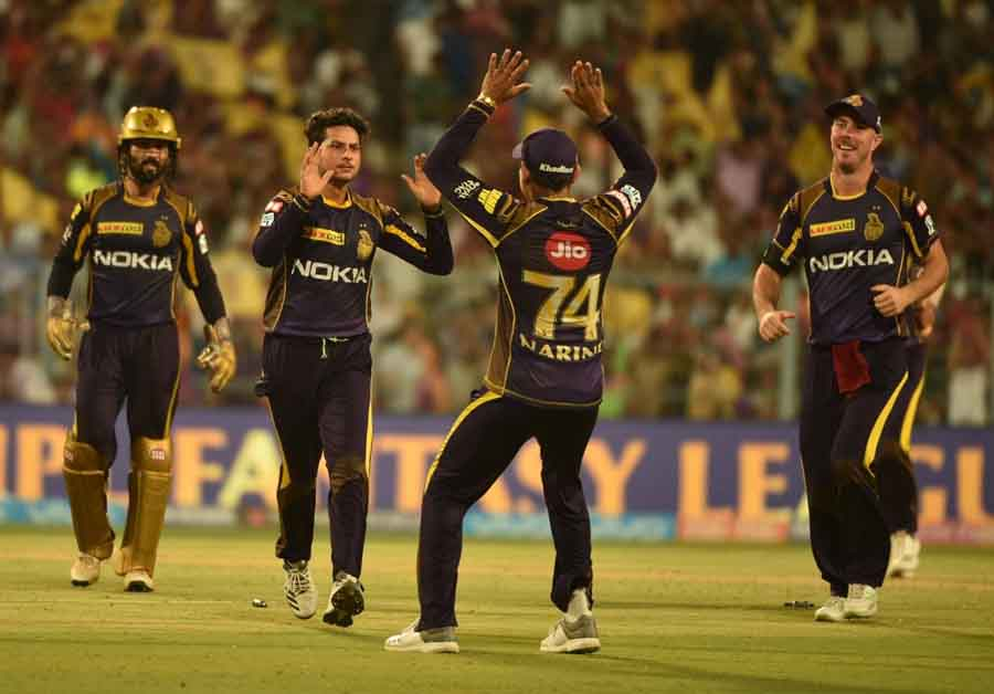 Kolkata Knight Riders Kuldeep Yadav Celebrates Fall Of A Wicket During An IPL 2018 Match Images