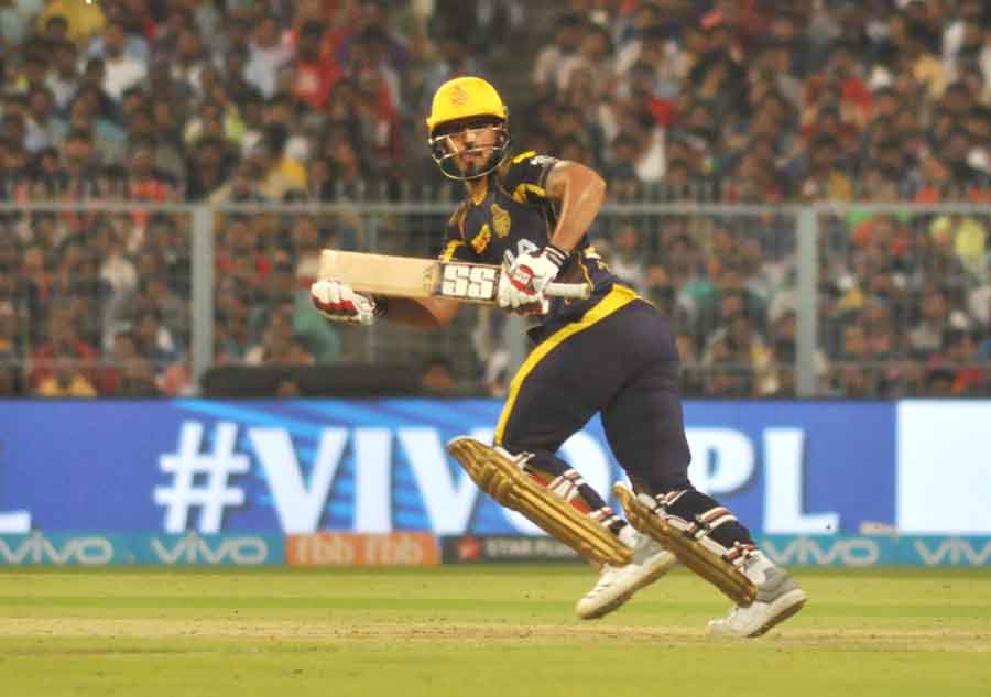Kolkata Knight Riders Nitish Rana In Action During An IPL 2018 Images in Hindi