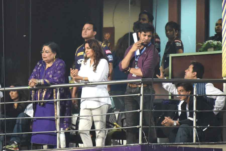 Kolkata Knight Riders Co Owner Juhi Chawla And Singer Usha Uthup During An IPL 2018 Images