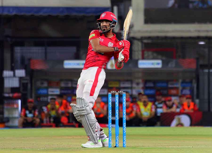 Lokesh Rahul Of Kings XI Punjab In Action During An IPL 2018 Images