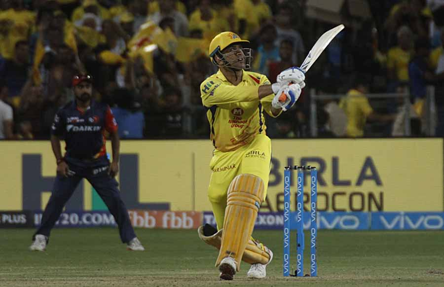 MS Dhoni Of Chennai Super Kings In Action During An IPL 2018 Match Images in Hindi
