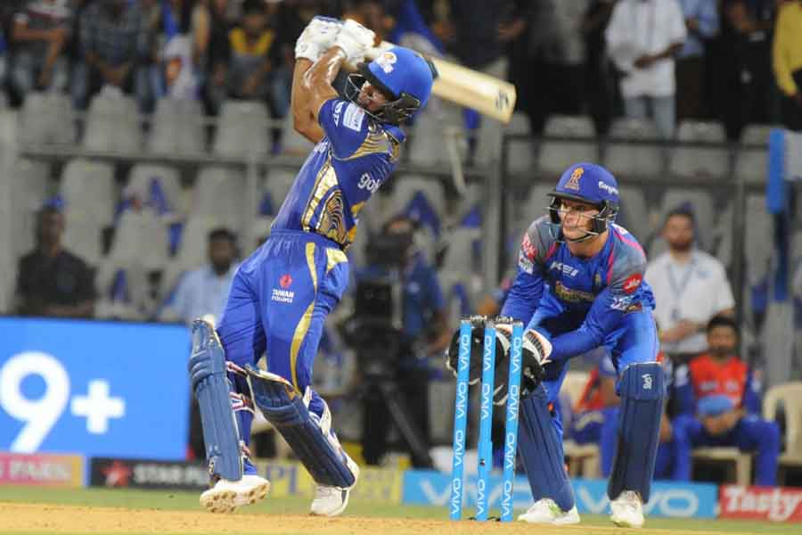 Mumbai Indians Evin Lewis In Action During An IPL 2018 Match Images