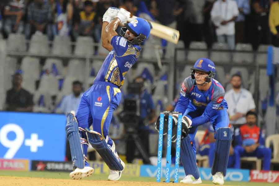 Mumbai Indians Evin Lewis In Action During An IPL Game 2018 Images