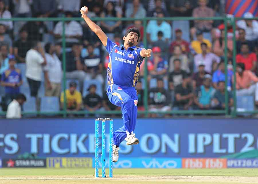 Mumbai Indians Jasprit Bumrah In Action During An IPL 2018 Match Images