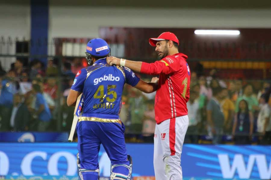 Mumbai Indians Rohit Sharma And Kings XI Punjabs Yuvraj Singh After An IPL 2018 Images