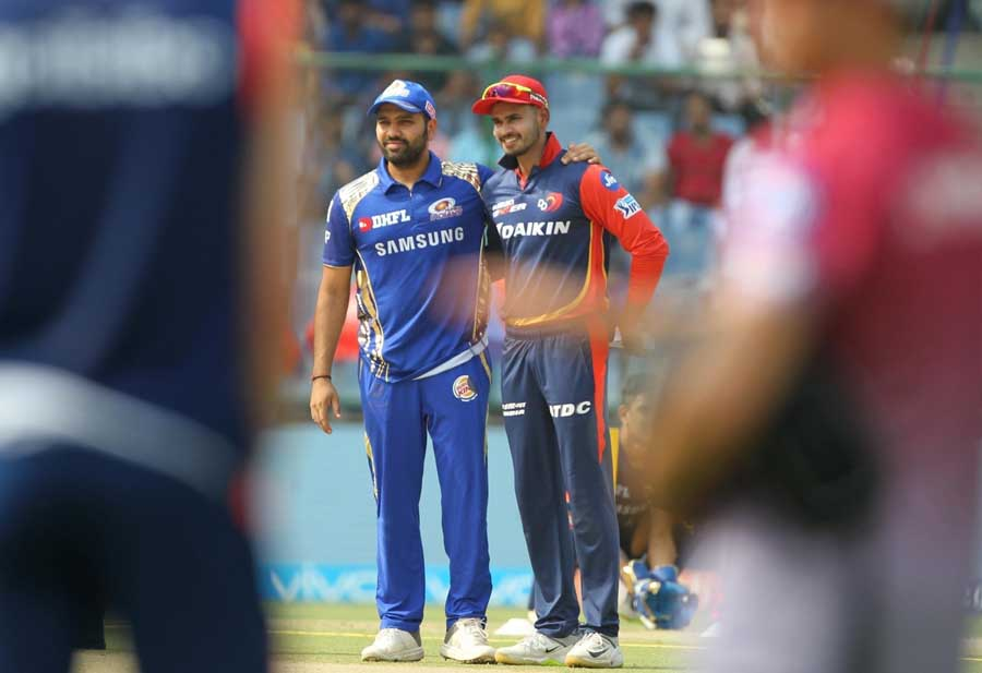 Mumbai Indians Captain Rohit Sharma And Delhi Daredevils Captain Shreyas Iyer During The Toss Ahead