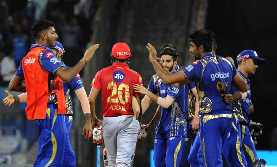 Mumbai Indians Celebrate After Winning An IPL 2018 Match Images