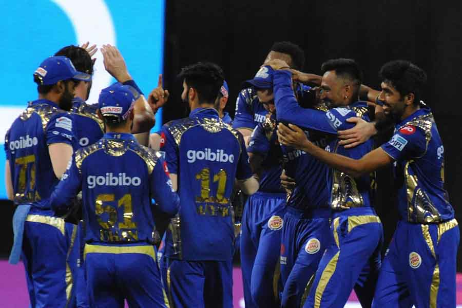 Mumbai Indians Celebrate Fall Of Chris Gayles Wicket During An IPL Match 2018 Images