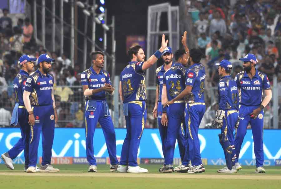 Mumbai Indians Celebrate Fall Of A Wicket During An IPL 2018 Images