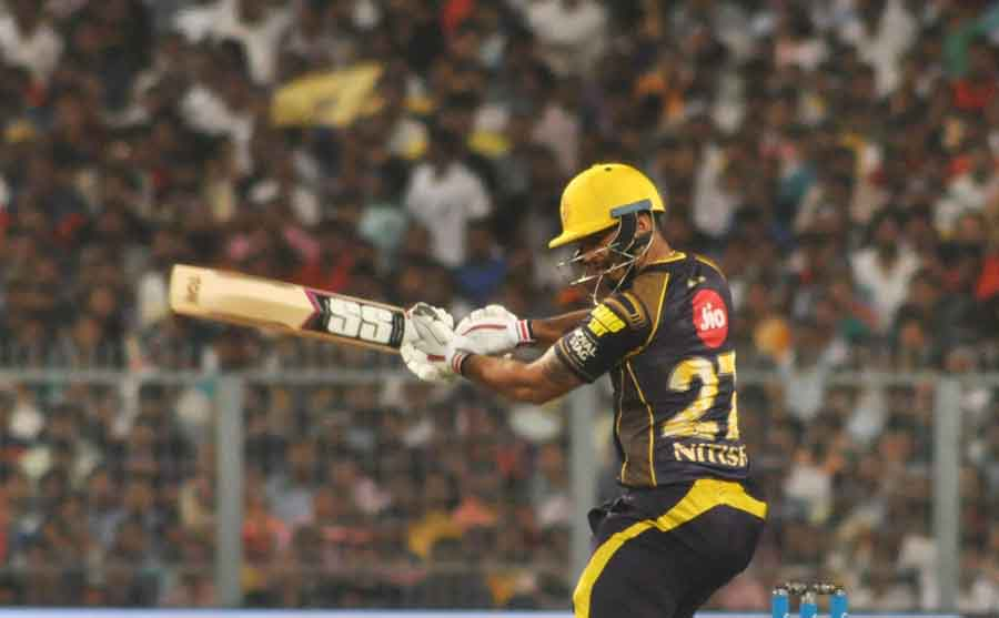 Nitish Rana Of Kolkata Knight Riders In Action During An IPL 2018 Images in Hindi