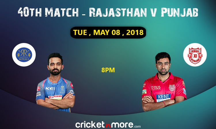 Rajasthan Royals vs Kings XI Punjab 40th Match Preview IPL 2018