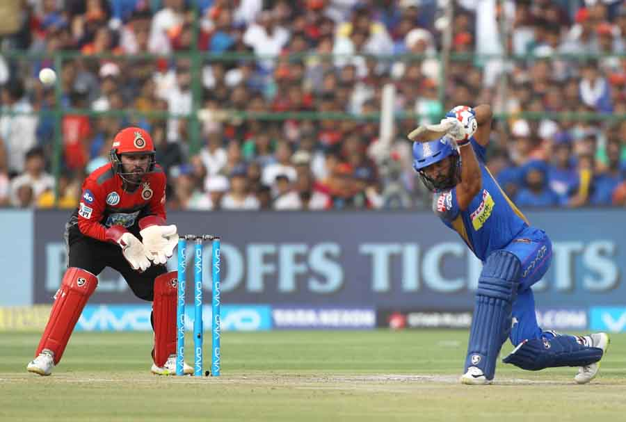 Rahul Tripathi Of Rajasthan Royals In Action During An IPL 2018 Match Between Rajasthan Royals And R in Hindi